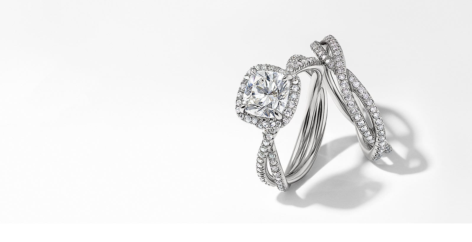 A diamond and platinum engagement ring and band