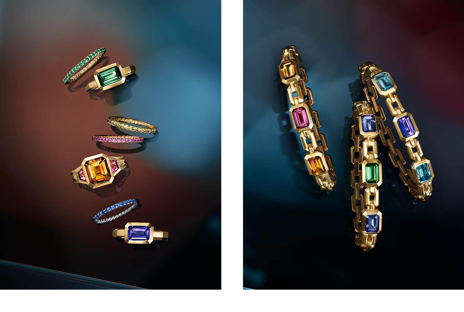 Two color photographs show David Yurman jewelry atop reflective backgrounds with multi-colored reflections of light. Left: Three DY Eden bands are shot from above and placed next to three Novella rings. The bands are crafted from 18K yellow gold, 18K rose gold or platinum with tsavorites or yellow, pink or blue sapphires. The Novella rings are crafted from 18K yellow gold with green tourmaline, Madeira citrine and rubellite, or tanzanite. Right: Three Novella chain bracelets in 18K yellow gold are shot from above and are each set with three colored gemstones, including Madeira citrine and pink tourmaline, iolite and green tourmaline, and light blue topaz and tanzanite.