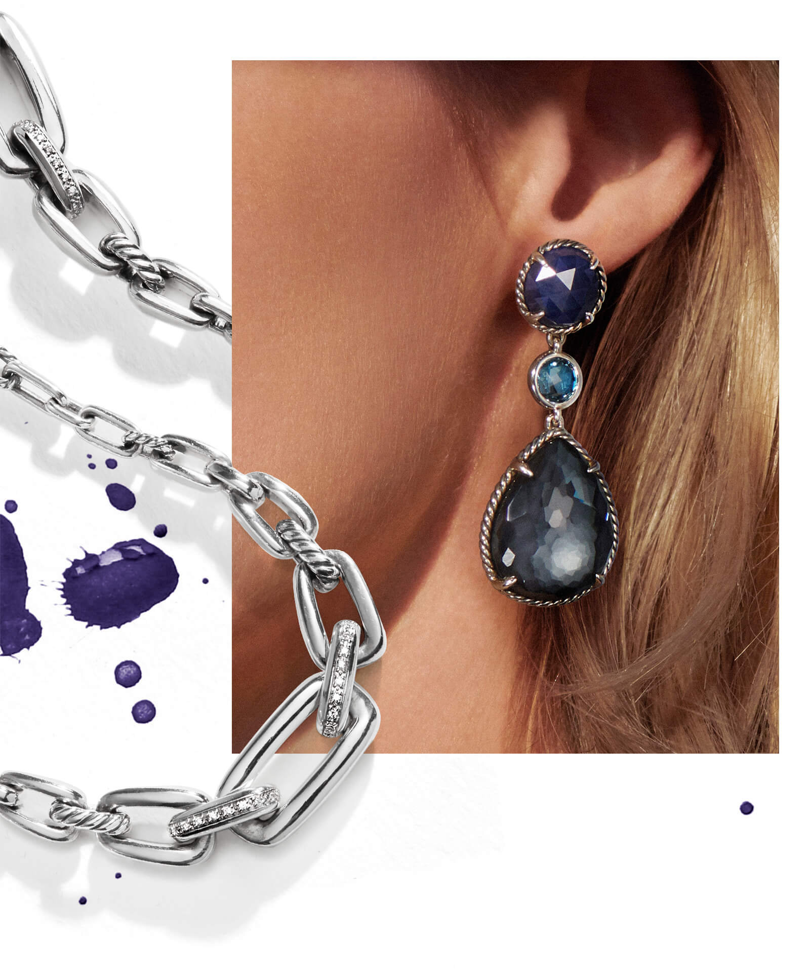 A color photo shows a close-up of a woman's left ear with her long hair pushed behind it. On her ear she is wearing David Yurman Chatelaine teardrop earrings in sterling silver with colored gemstones. Coming out from under the upper-left side and curled over the lower-right side of the photo is a David Yurman Wellesley Link necklace casting long shadows. The jewelry is crafted from sterling silver with pavé white diamonds. Within the loop shape formed by part of the Wellesley Link necklace across the lower corner of the image are different-sized splatters of purple paint.