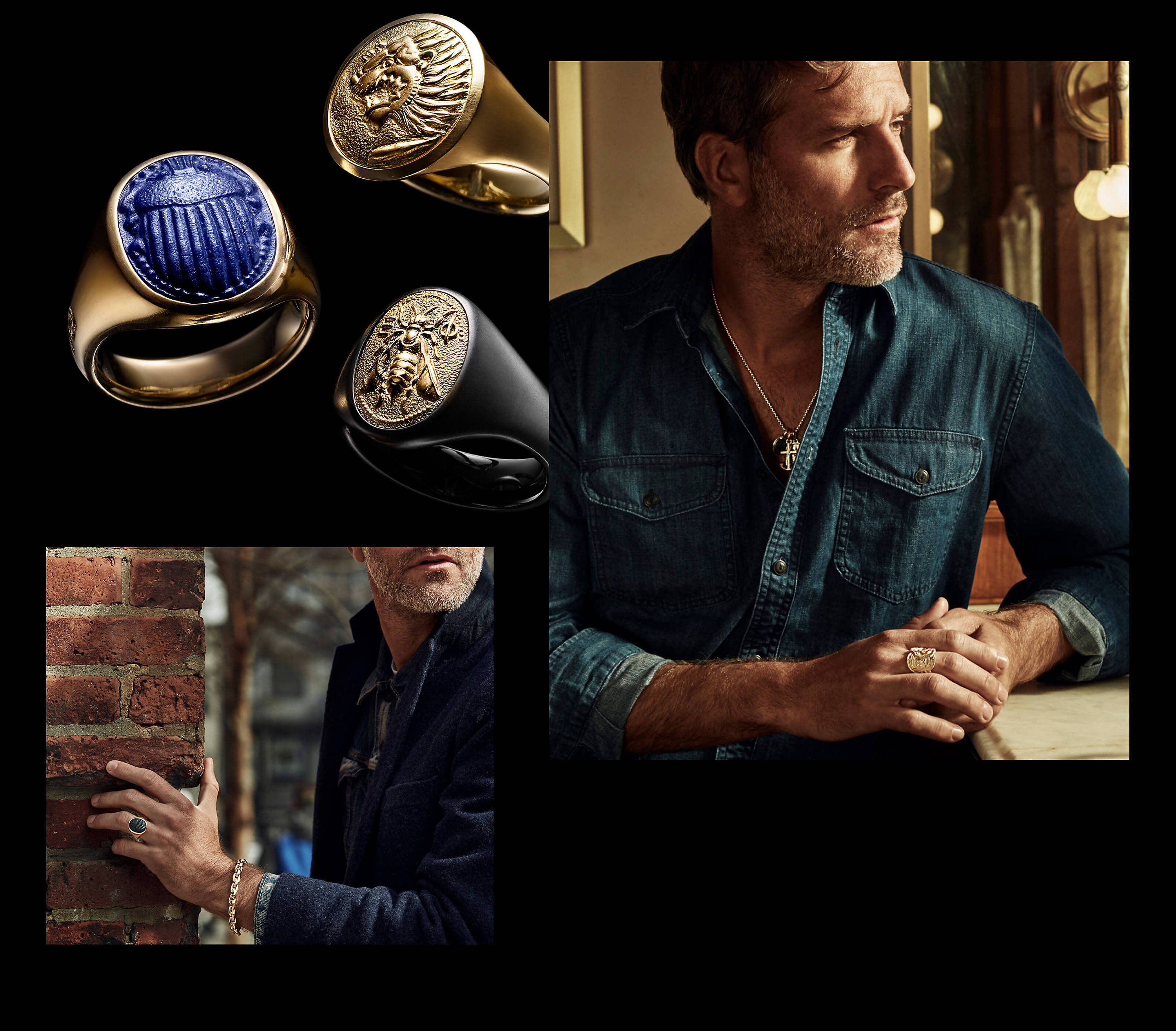 A color photo shows three images arranged in a collage. In the upper left section is a photo of three David Yurman men's Petrvs signet rings standing up right in a group on top of a black surface. Clockwise from left is a scarab ring in 18K yellow gold with lapis lazuli, a lion ring in 18K yellow gold and a bee ring in black titanium with 18K gold. In the section to the right is a photo showing a man wearing David Yurman jewelry is overlaid over most a color photograph of an abstract, zoomed-in perspective of David Yurman's forged carbon material. The man is seen from the waist up standing at a beige stone table in front of a wood-paneled mirror with a brass sconce fixed at the top. The sconce is circular and features a protruding, minimalist, cylindrical fixture with a single, illuminated yellow lightbulb hanging from the bottom. The man is on the left-hand side of the photograph looking to the right, with the portion of his face turned toward the camera covered in shadow. He is wearing a dark blue denim shirt with a few buttons undone from the top to show a David Yurman chain necklace strung with three David Yurman men's amulets crafted from 18K yellow gold. He is also wearing a David Yurman men's Shipwreck band ring in 18K yellow gold on his right middle finger. In the lower left section is a photo of a man standing outside with his left hand holding on to the side of a brick wall. He and the brick wall are partly cast in shadow. A bare tree is seen in the distance behind him. He is wearing a dark blue coat over a light blue denim trucker-style jacket, as well as a David Yurman men's Petrvs scarab ring and a Streamline link bracelet. The jewelry is crafted from 18K yellow gold with or without bloodstone.