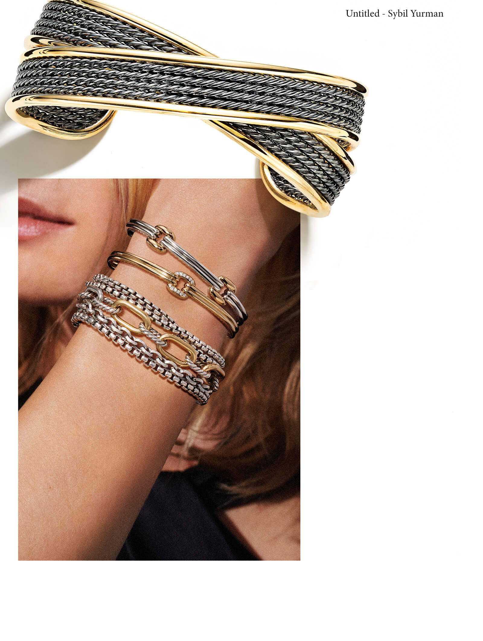 A color photo showing a David Yurman DY Origami cuff bracelet, crafted from blackened sterling silver with 18K yellow gold and casting a long shadow, juxtaposed above and slightly over the top-right corner of another photo. This color photo shows a close-up of a woman's wrist as her arm is crossed in front of her face, which is turned slightly away from the camera. On her wrist she is wearing David Yurman bracelets from the Thoroughbred and Chain collections. The jewelry is crafted from sterling silver and 18K yellow gold with or without pavé white diamonds.