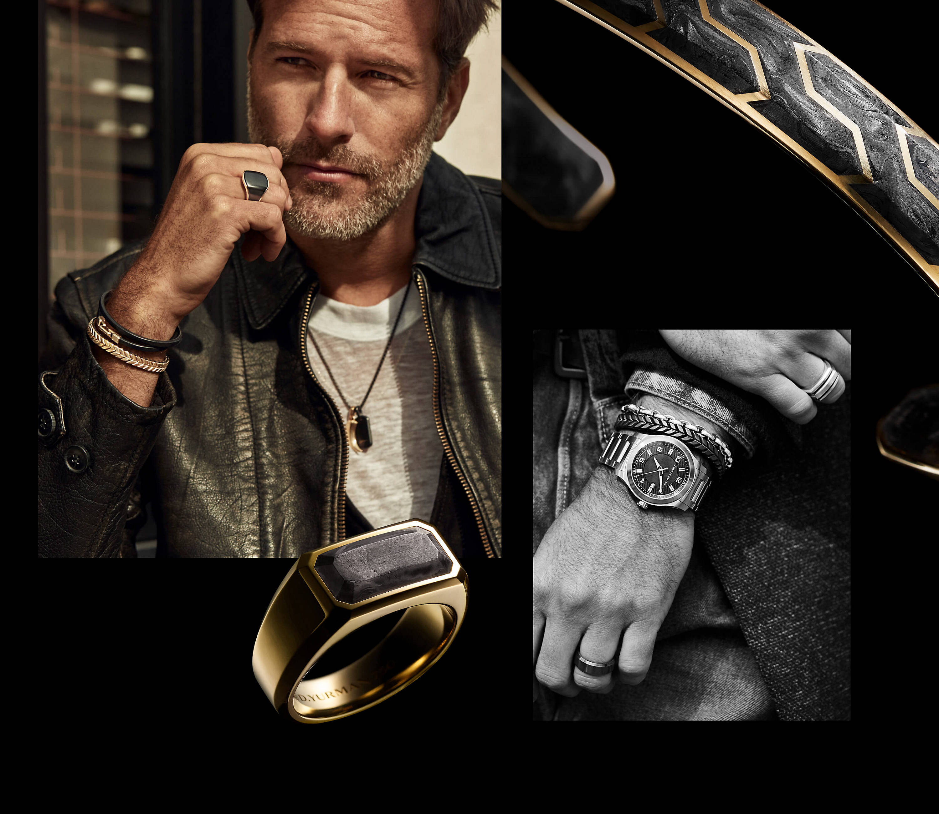 A photo shows four images arranged in a collage grid. In the upper left quadrant is a color photo of a man standing outside in the sun in front of a beige wall and window. He is wearing a black leather jacket, a white crewneck t-shirt, and David Yurman men's jewelry. His right hand is gently curled in front of his face, and he is looking to the left of the camera with a pensive expression. He is a wearing a Chevron bracelet in 18K yellow gold, a Streamline wrap bracelet in black leather with 18K yellow gold, a Streamline signet ring in 18K yellow gold with black titanium, and a darkened stainless-steel Chain necklace with two pendants on the necklace. The pendants include a Roman claw amulet in 18K yellow gold and a Streamline tag in black titanium. In the upper right quadrant is a close-up color photo of a Forged Carbon cuff bracelet in 18K yellow gold that is partially covered in light and shadow. In the lower right quadrant is a close-up black-and-white photo of a man's left hand and wrist, with his right hand folded around his left arm above the wrist. He is wearing jeans, a belt, a coat, and a light denim jacket. On his left arm he is wearing a David Yurman men's Beveled band ring, a Revolution watch, a Chevron bracelet, and a Streamline link bracelet. On his right hand he is wearing a Deco signet ring. In the lower left quadrant is a color photo of a David Yurman men's Forged Carbon signet ring in 18K yellow gold standing upright on top of a black surface and covered in light and shadow.