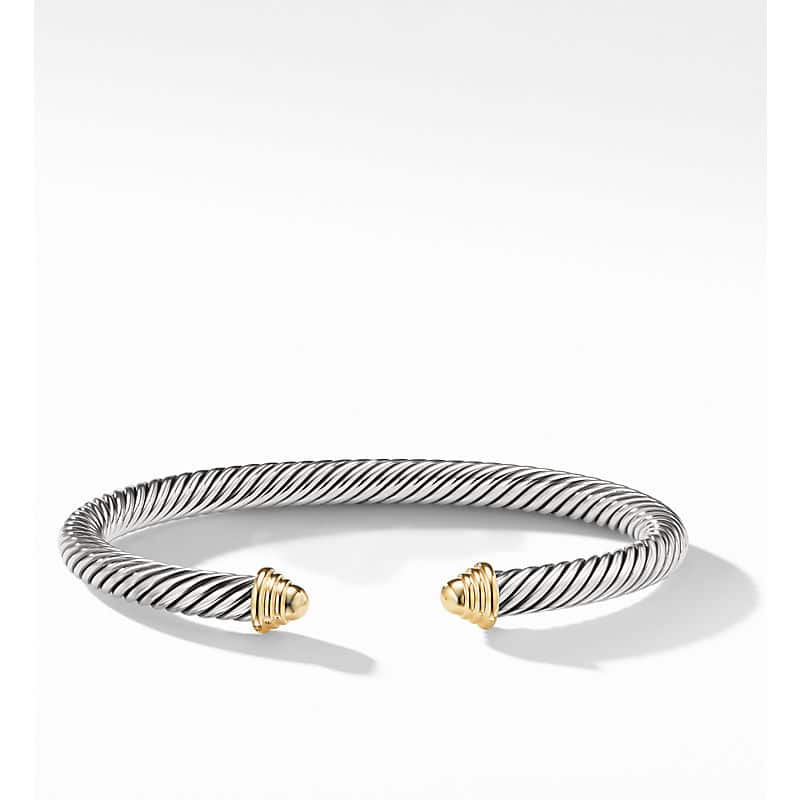 Cable Classics Bracelet with 14K Yellow Gold Domes, 5mm