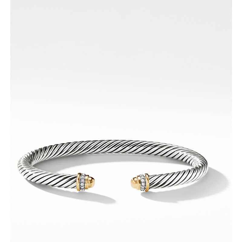 Cable Classics Bracelet with 18K Yellow Gold and Diamonds, 5mm