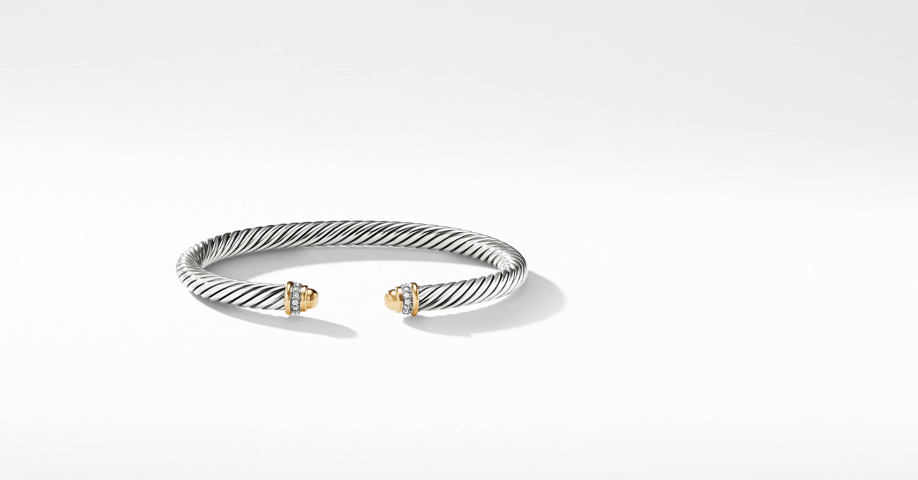 Cable Classic Collection Bracelet with 18K Yellow Gold and Diamonds, 5mm