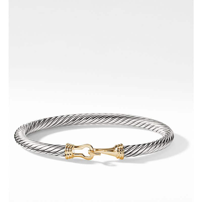 Cable Buckle Bracelet with 14K Gold, 5mm