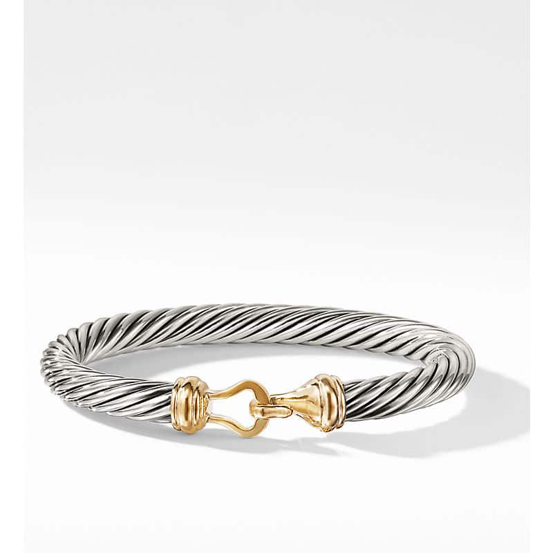Cable Buckle Bracelet with 14K Gold, 7mm