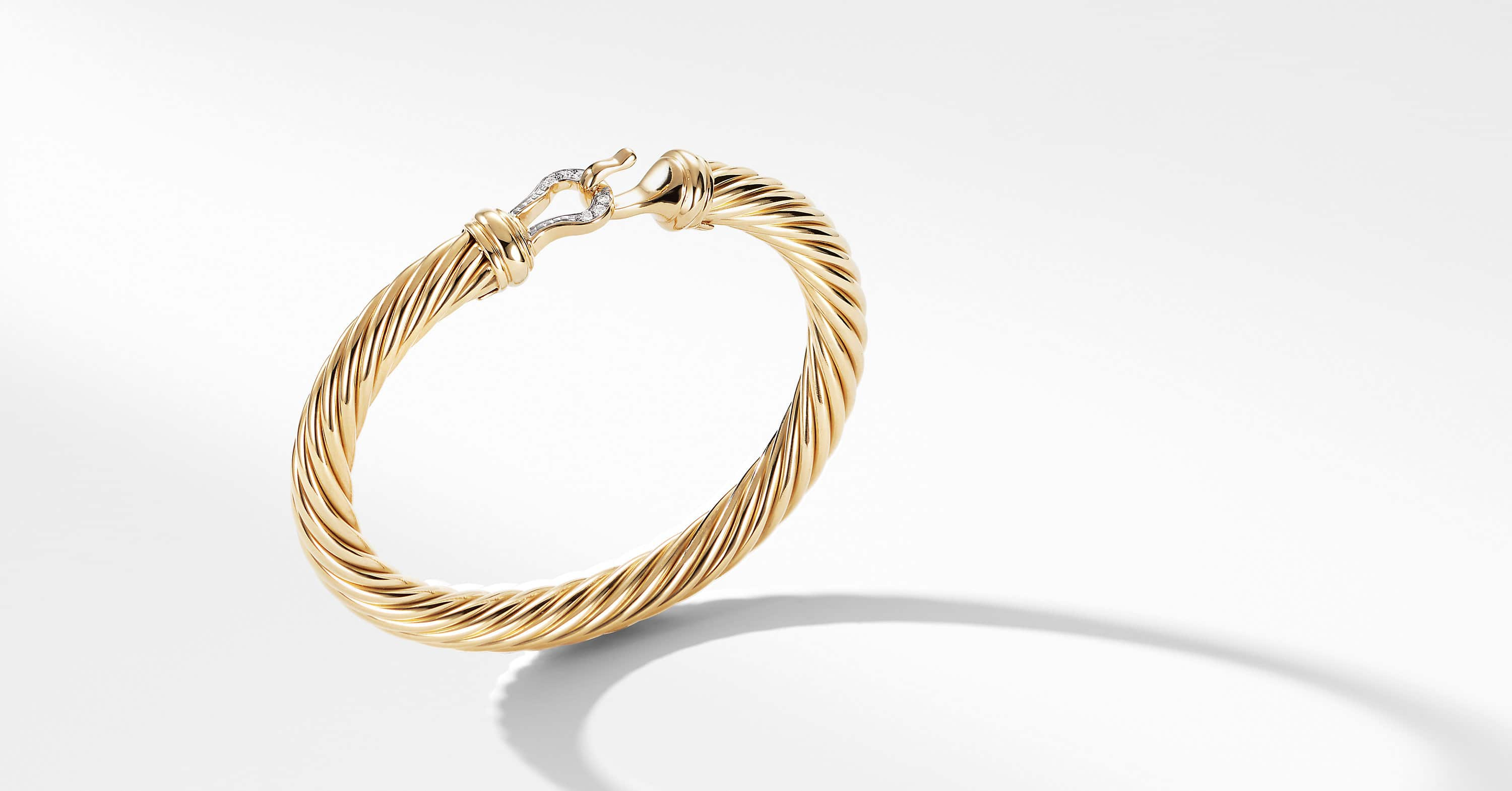 Cable Buckle Bracelet with Diamonds and 18K Gold, 7mm