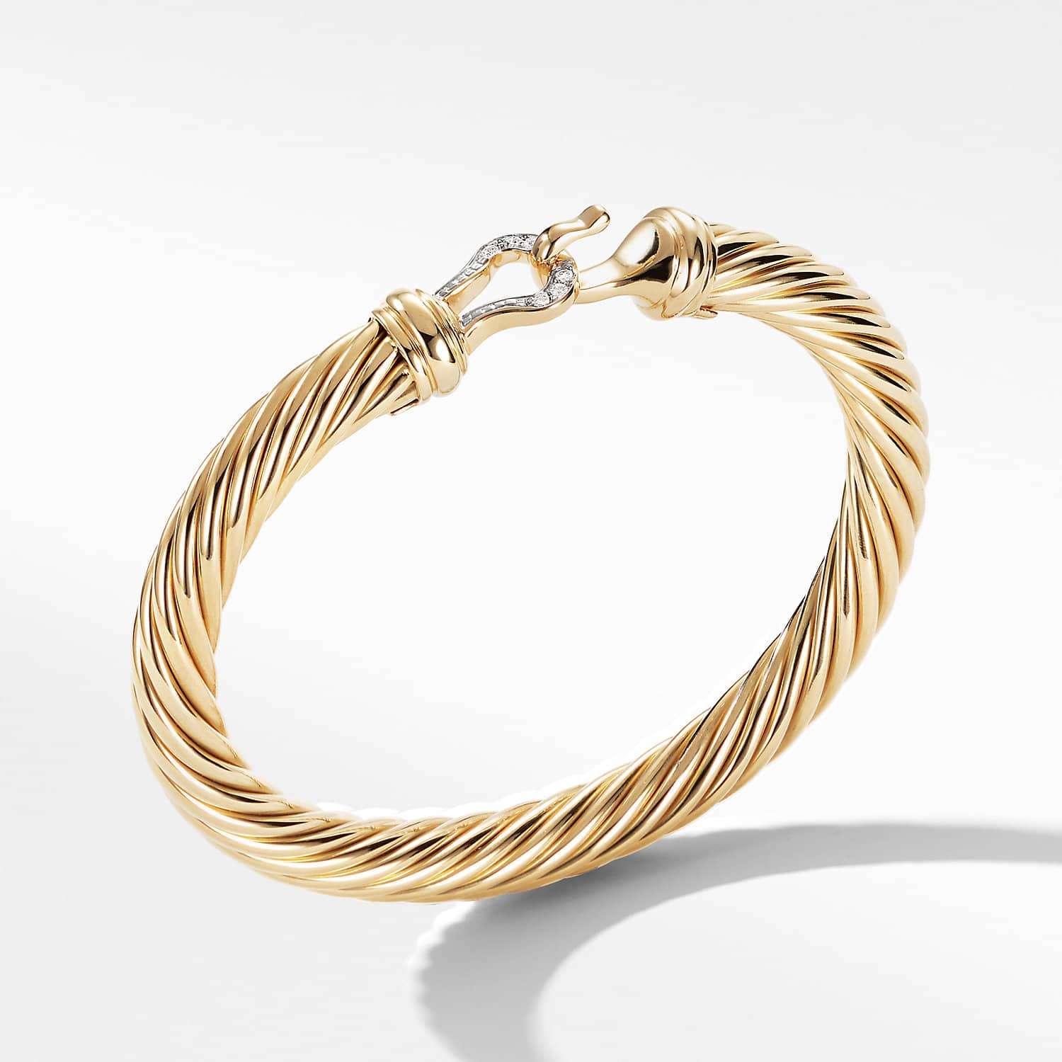 Cable Clic Buckle Bracelet With Diamonds And 18k Gold 7mm