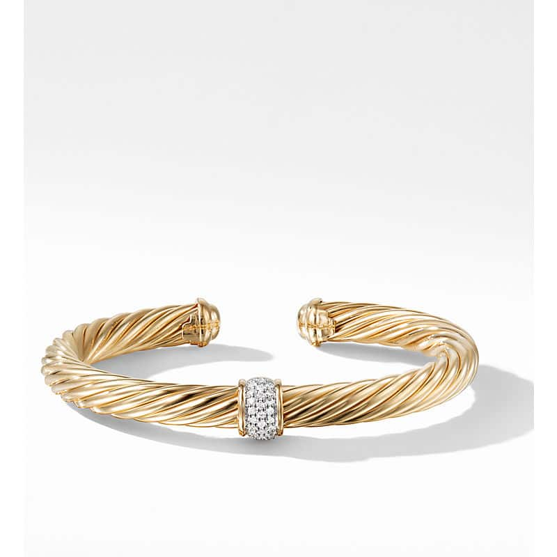 Cable Classic Collection Bracelet with Diamonds in 18K Yellow Gold, 7mm