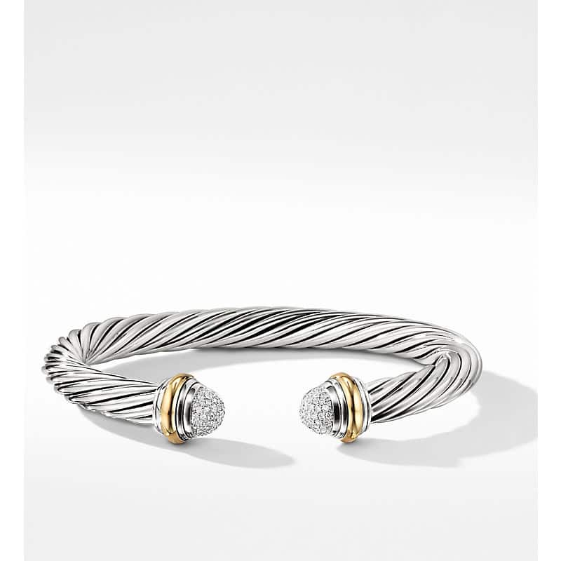 Cable Classics Bracelet with Diamonds and 18K Yellow Gold, 7mm