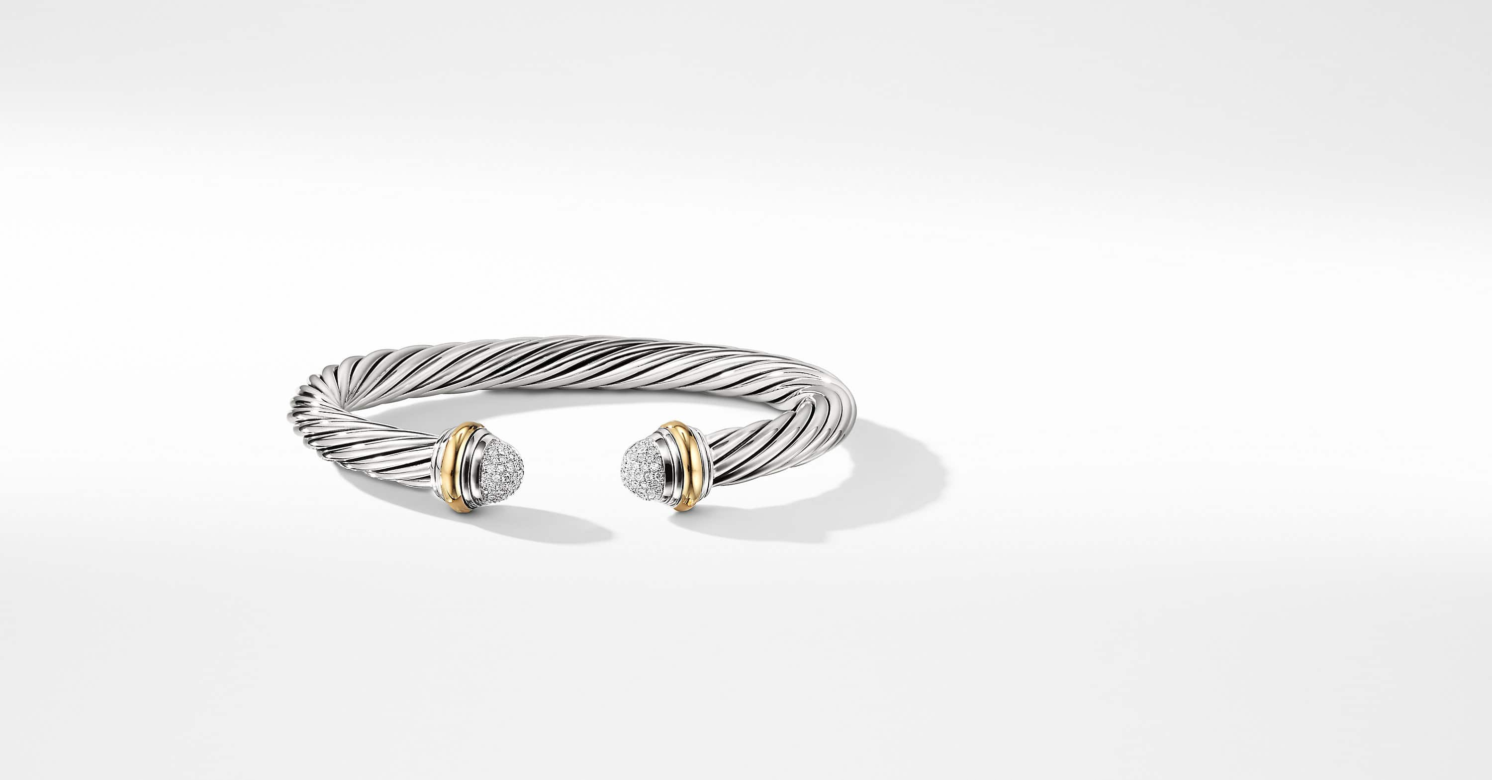 Bracelet Cable Classics en or 18K avec diamants, 7 mm