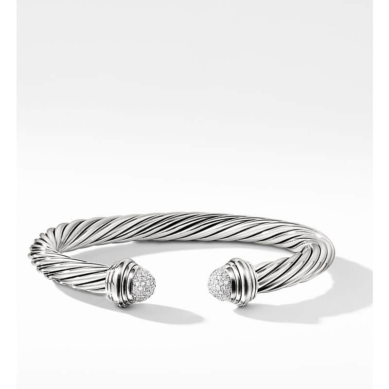 Cable Classic Collection Bracelet with Diamonds, 7mm