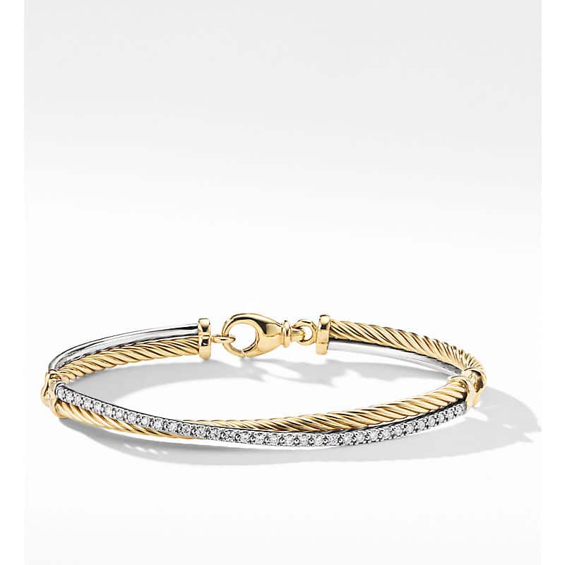 The Crossover Collection Bracelet in 18K Yellow Gold with Diamonds