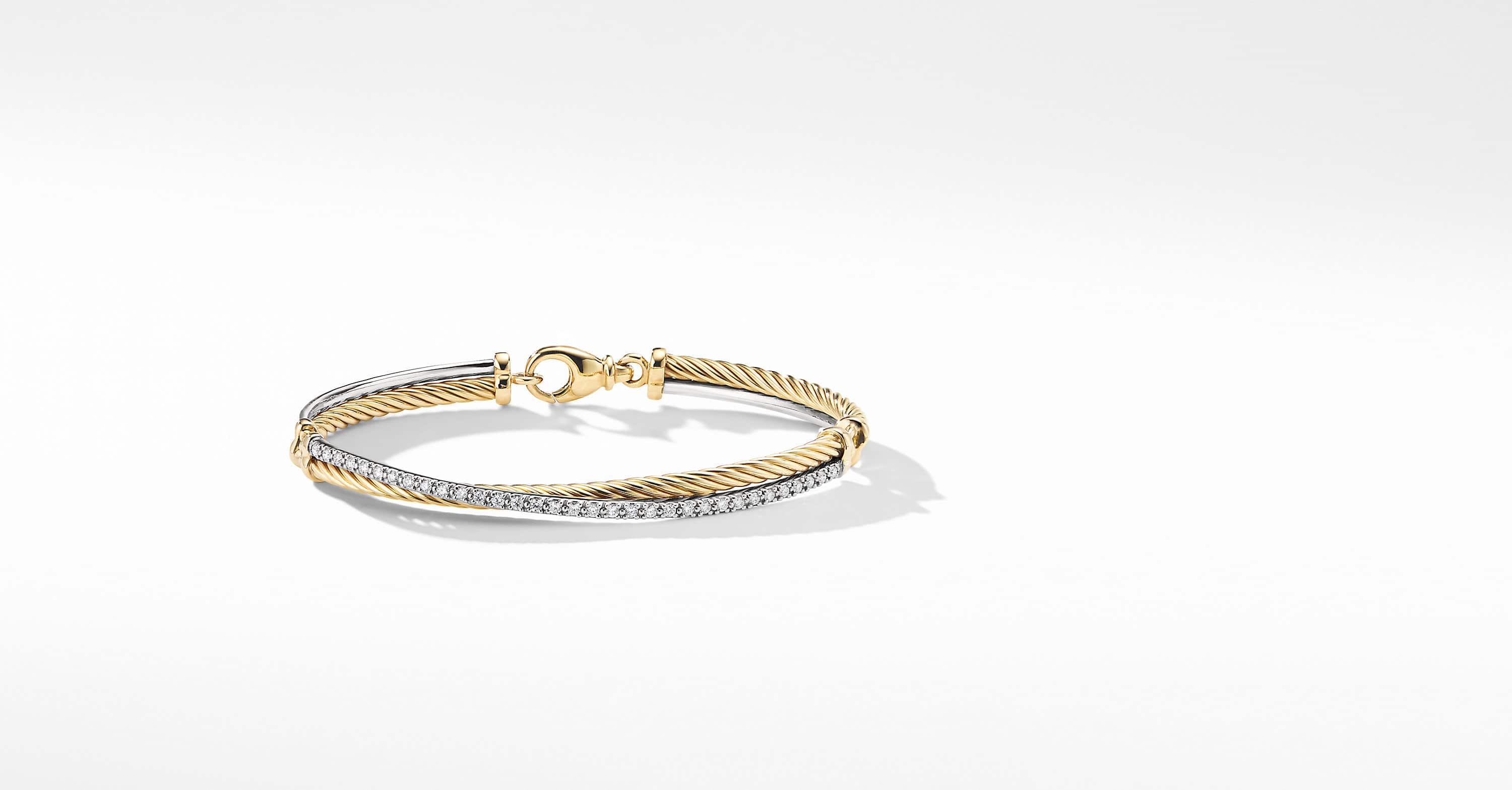 Crossover Bracelet with Diamonds in 18K Gold