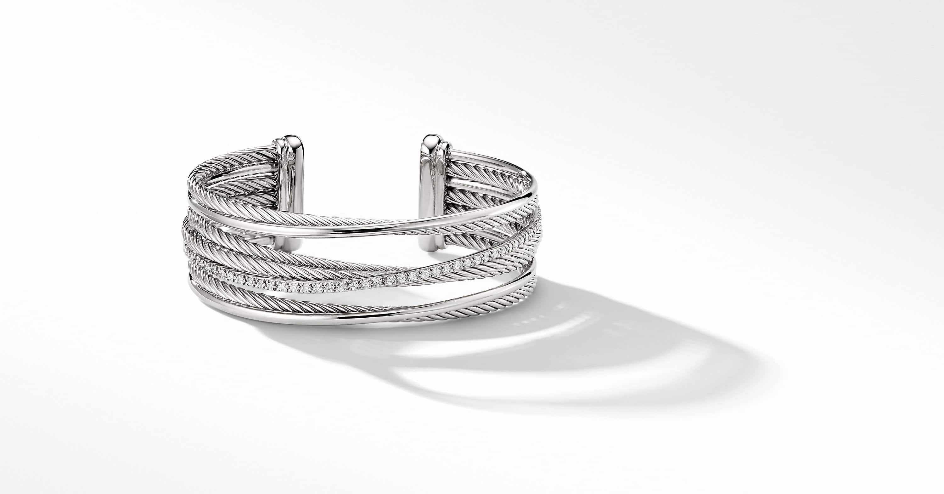 Crossover Four-Row Cuff with Diamonds, 23mm