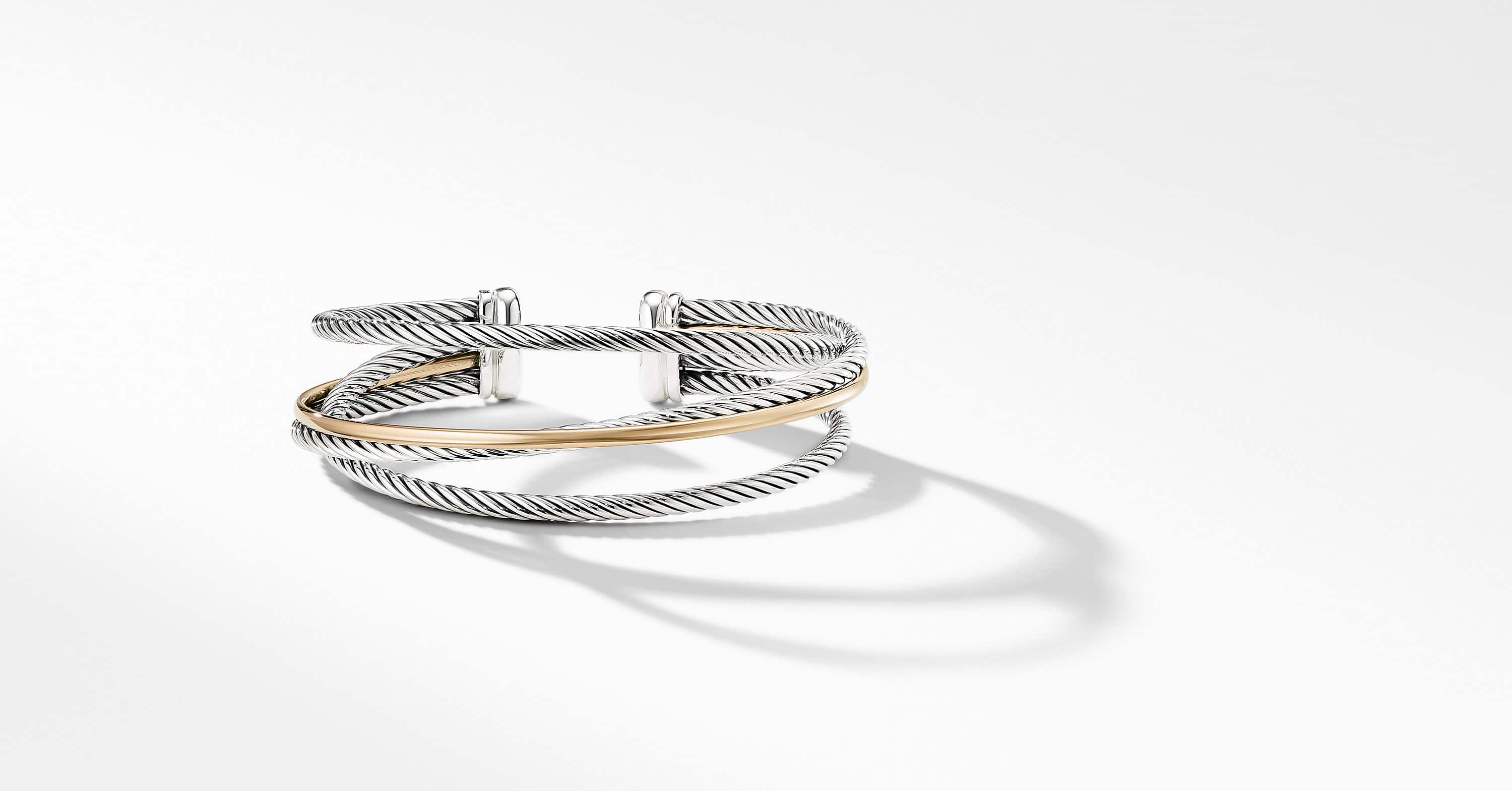 The Crossover Collection Three-Row Cuff with 18K Yellow Gold, 18mm