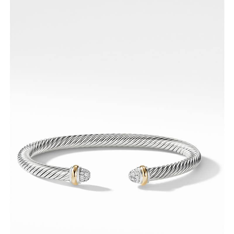 Cable Classics Bracelet with Diamonds and 18K Yellow Gold, 5mm