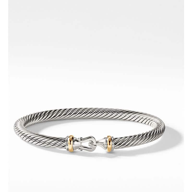 Cable Classic Collection Buckle Bracelet with 18K Yellow Gold, 5mm