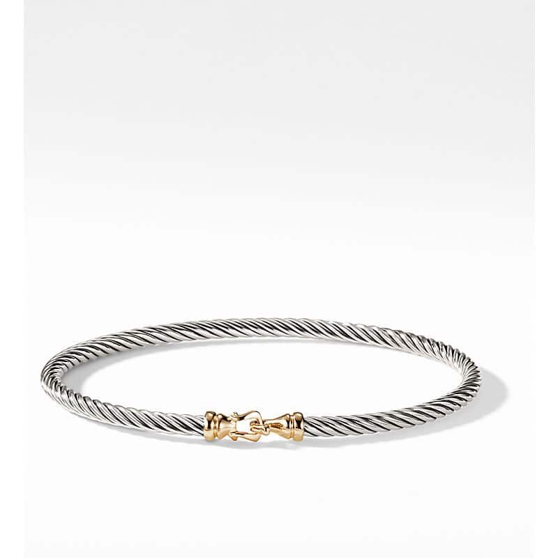 Cable Collectibles Buckle Bangle Bracelet with 18K Gold, 3mm
