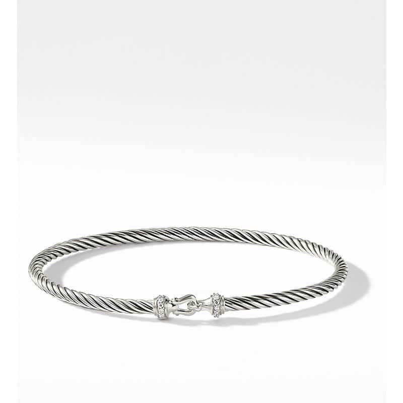 Cable Collectibles Buckle Bangle Bracelet with Diamonds, 3mm