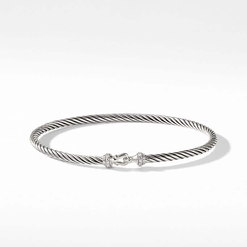 Cable Buckle Bracelet with Diamonds, 3mm