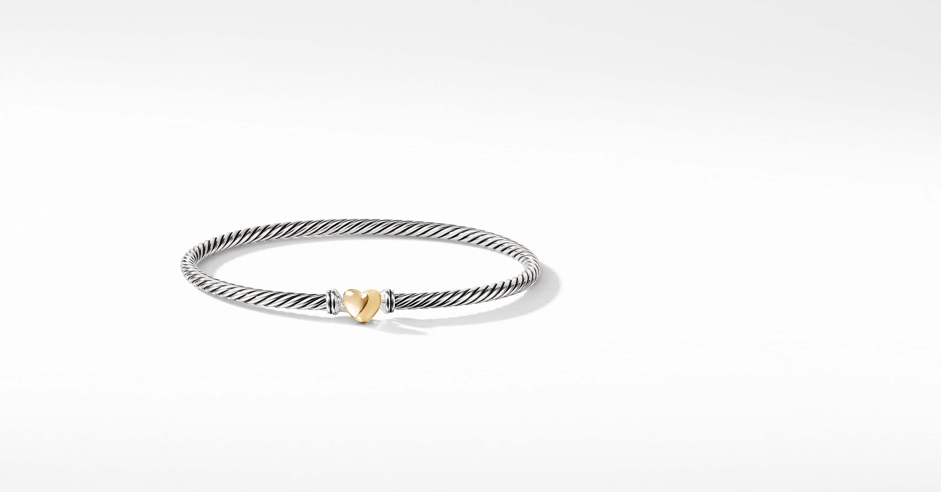 Cable Collectibles Heart Bracelet with 18K Gold, 3mm