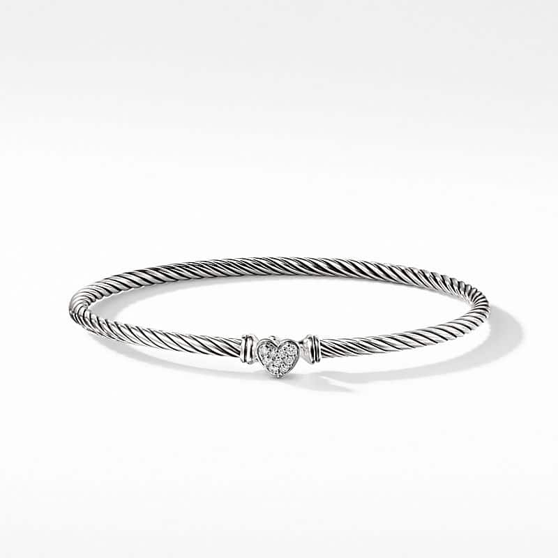 Cable Collectibles Heart Bracelet with Diamonds, 3mm