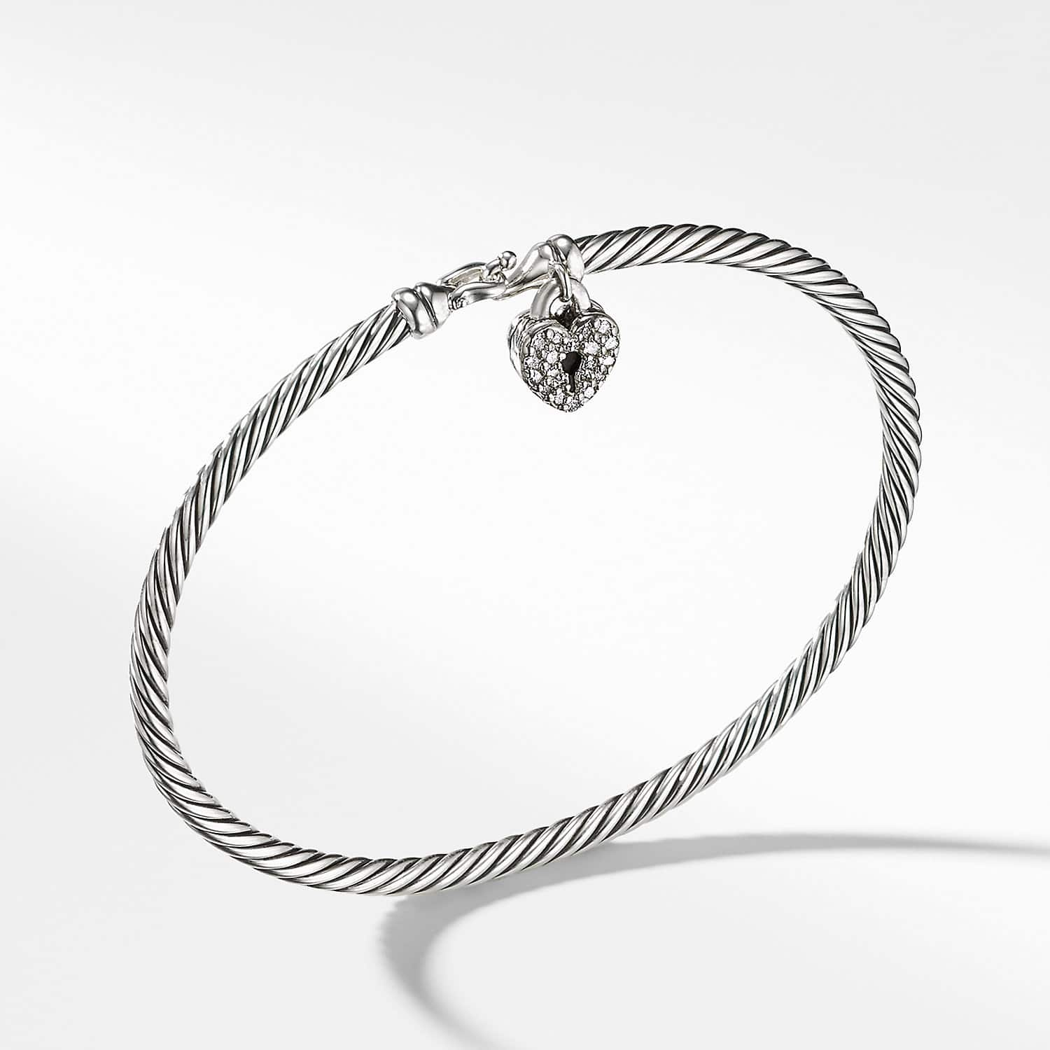 Cable Collectibles Heart Lock Bracelet With Diamonds 3mm Product Image