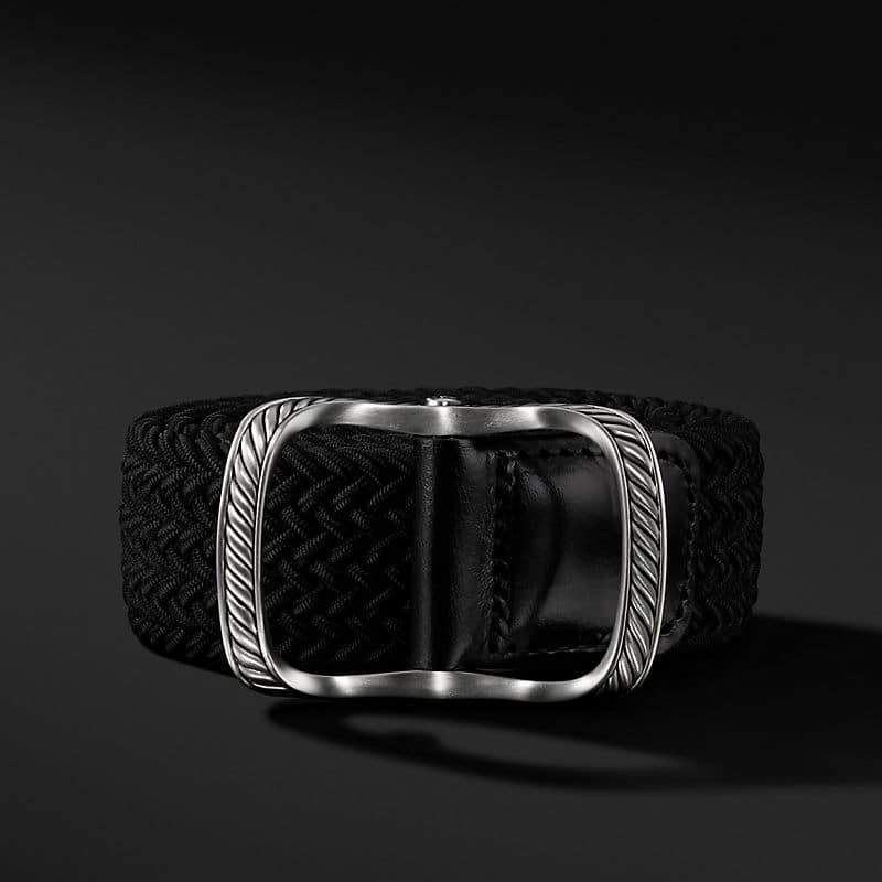 Maritime Cable Buckle with Black Woven Belt