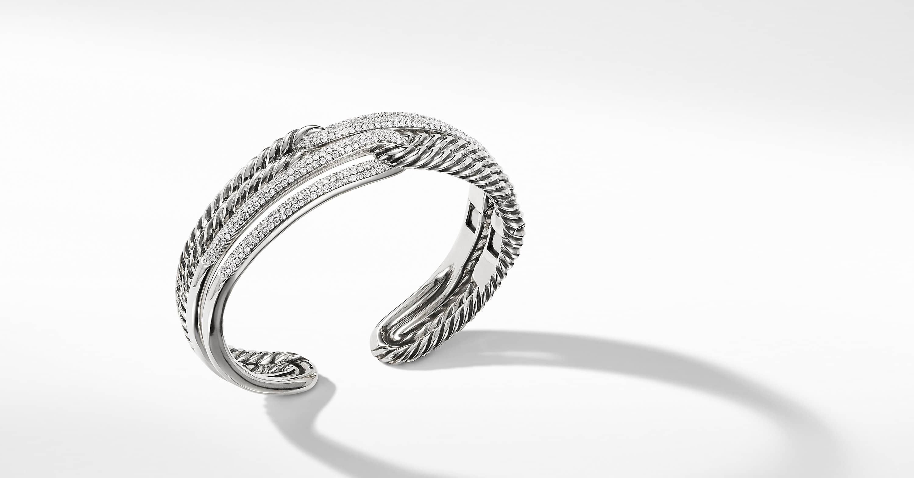 Labyrinth Double-Loop Cuff with Diamonds, 19mm