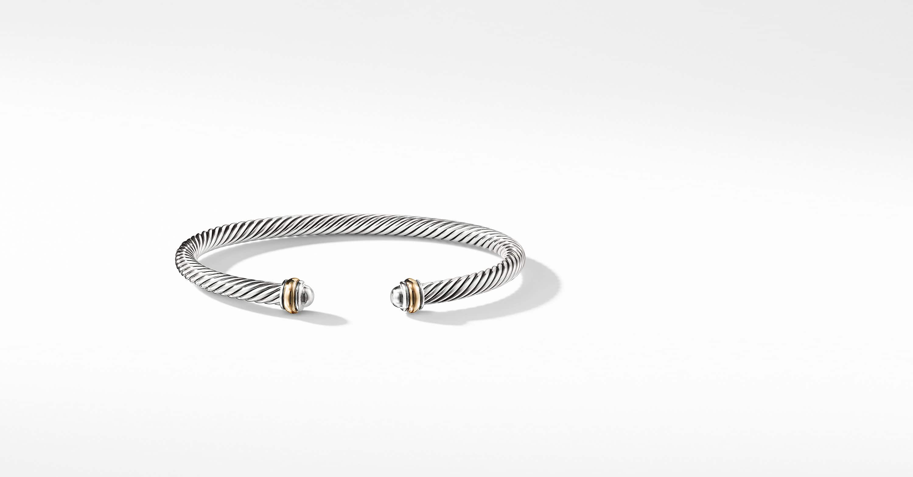 Cable Classic Collection Bracelet with 18K Yellow Gold, 4mm