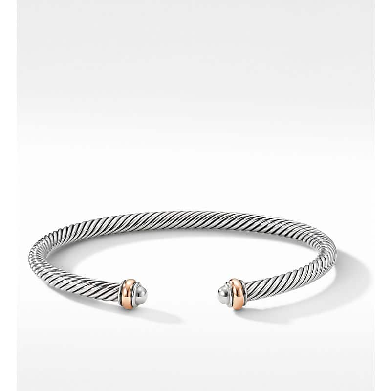 Cable Classics Collection Bracelet with 18K Rose Gold, 4mm