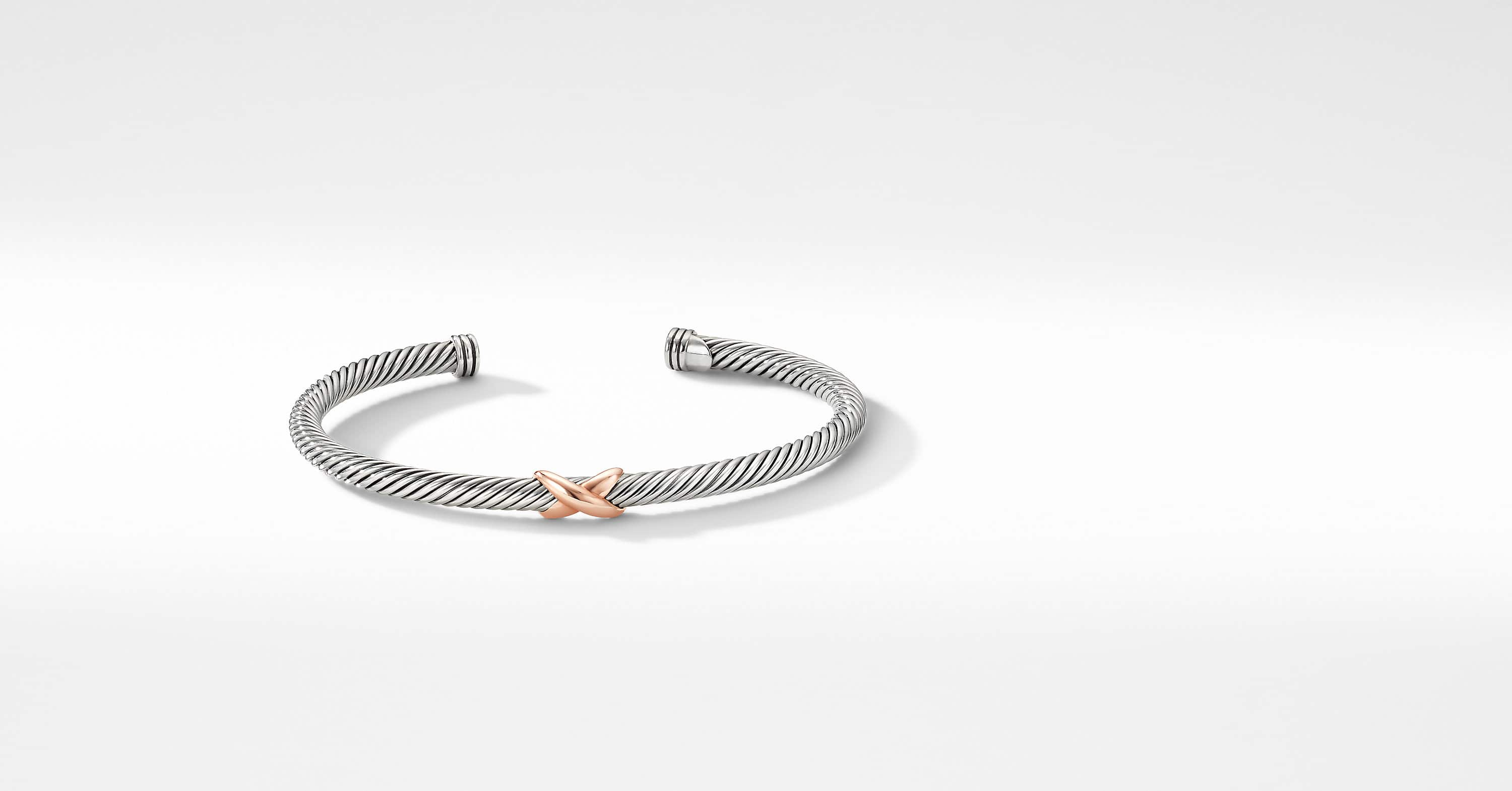 X Station Bracelet with 18K Rose Gold, 4mm