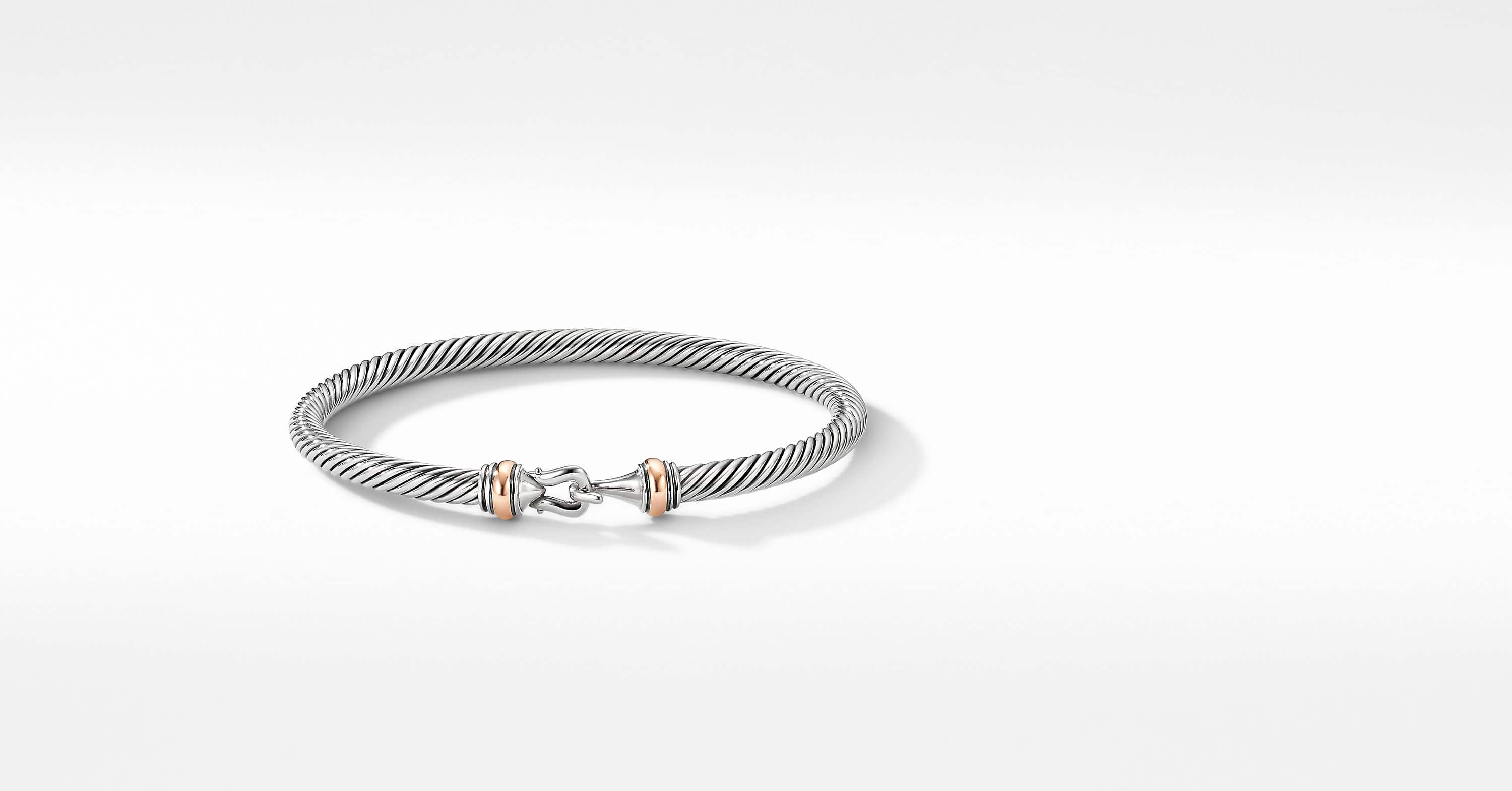 Cable Buckle Bracelet with 18K Rose Gold, 4mm