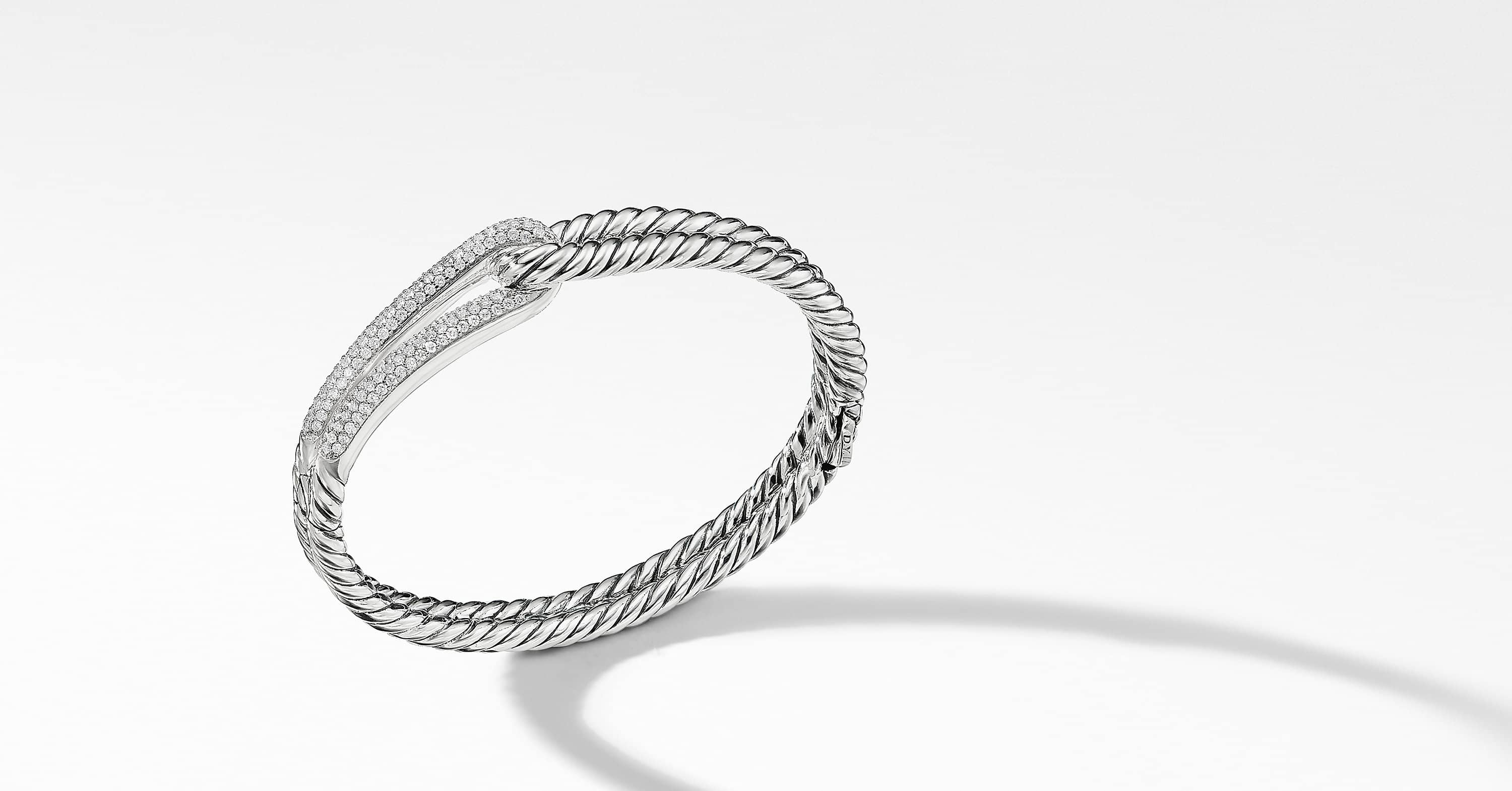 Labyrinth Single-Loop Bracelet with Diamonds, 10mm