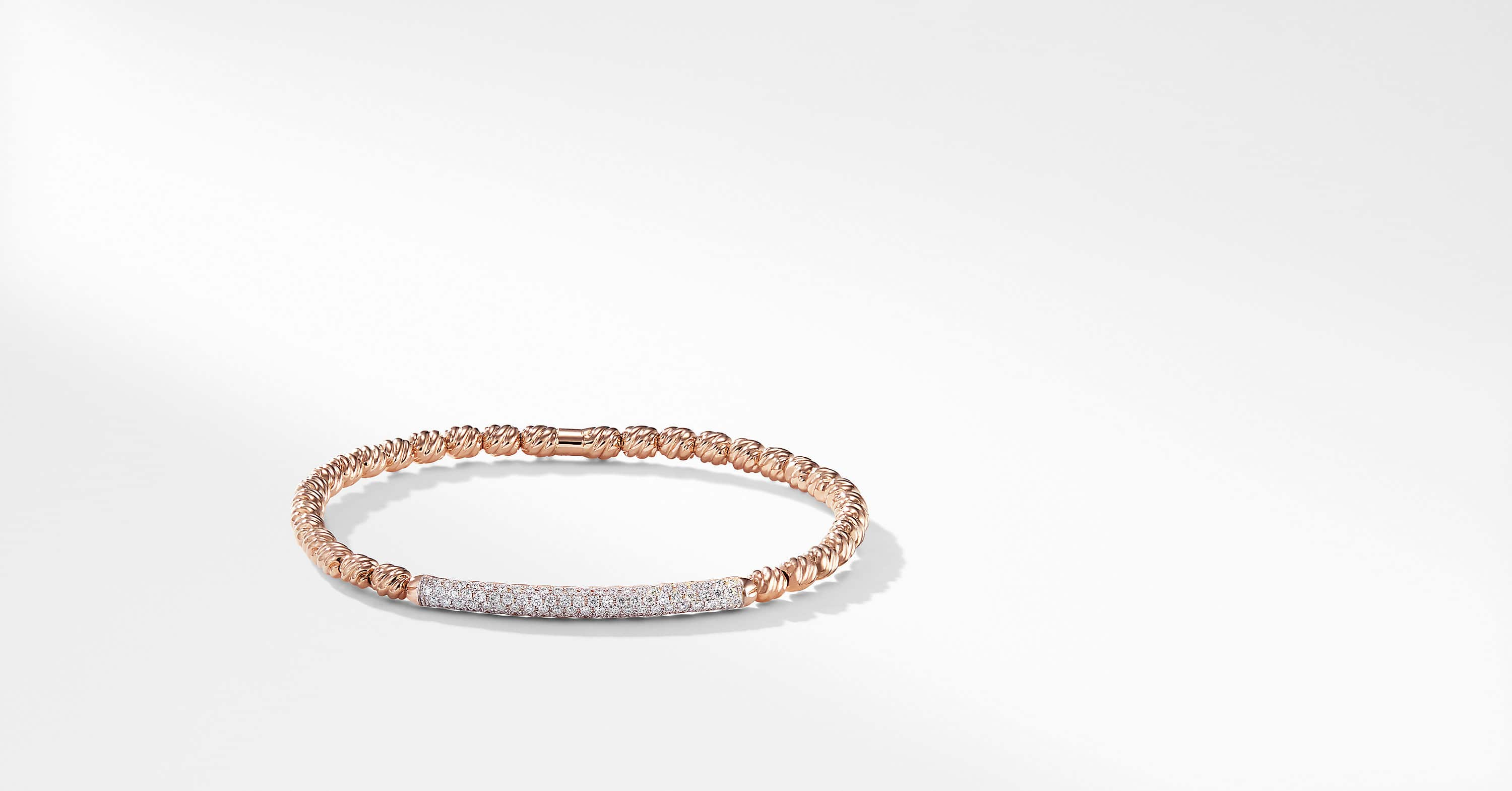 Petite Pave Bracelet with Diamonds in 18K Rose Gold