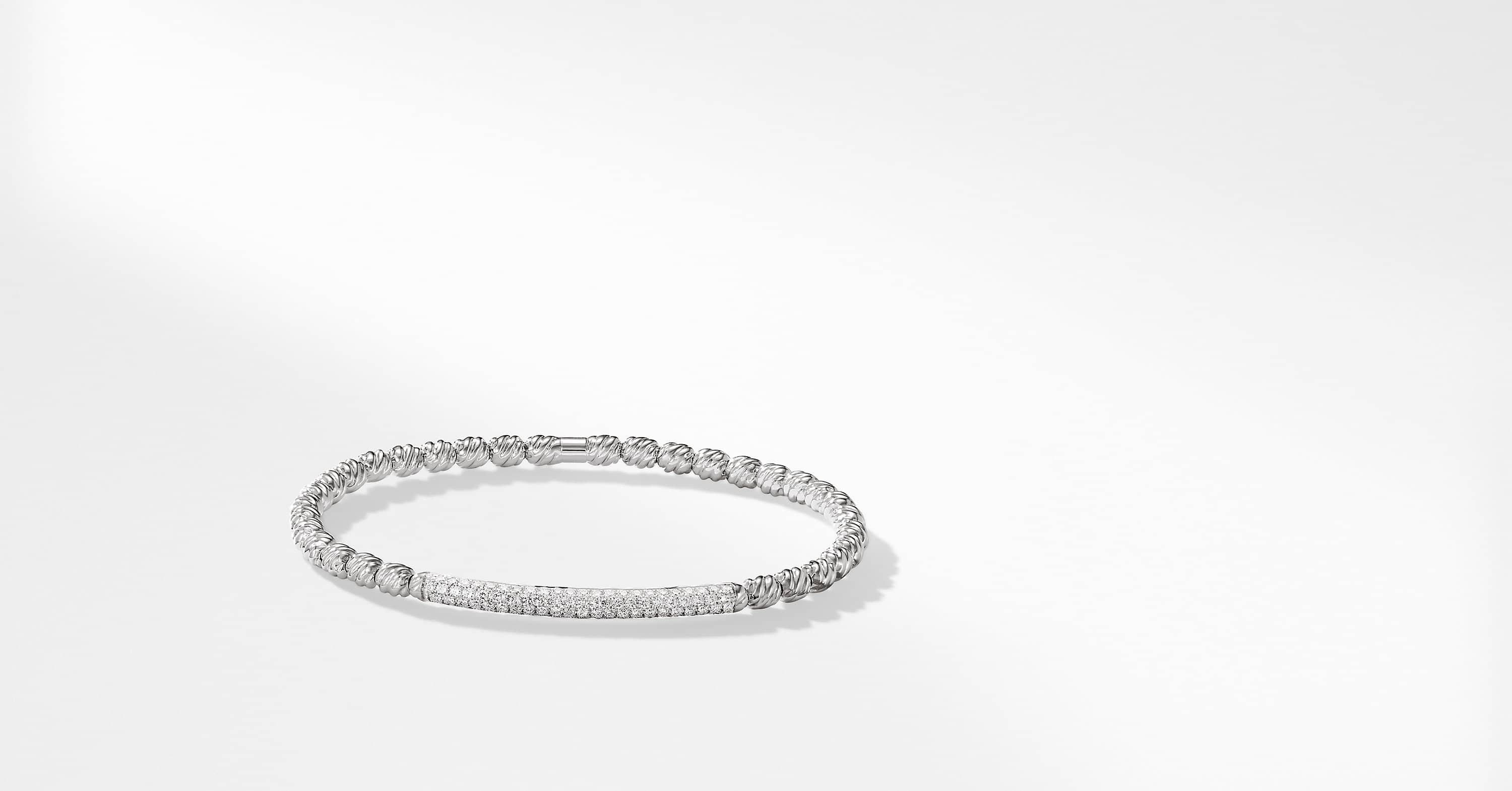 Petite Pave Bracelet with Diamonds in 18K White Gold