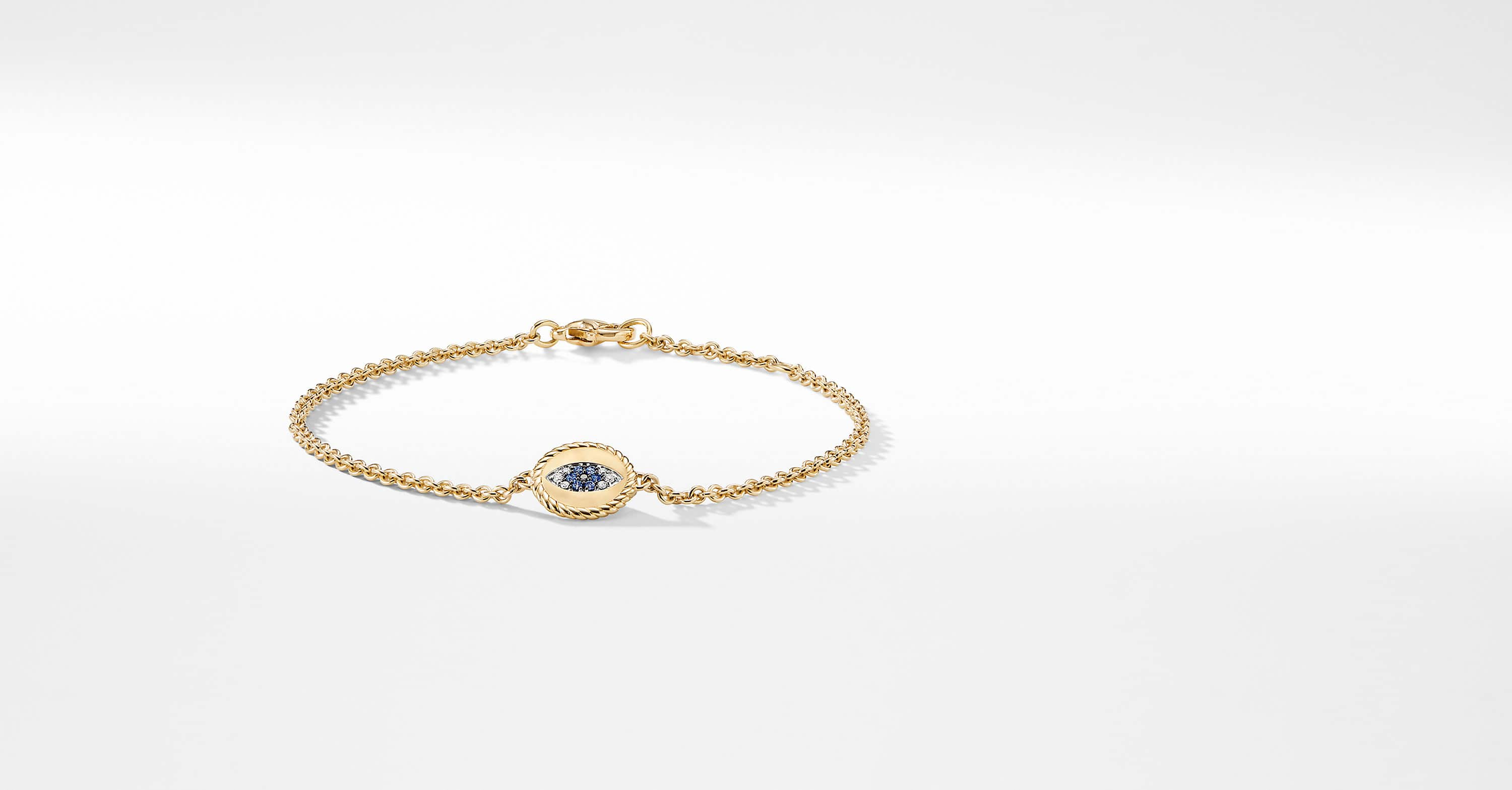 Pave Cable Evil Eye Charm with Diamonds in 18K Gold