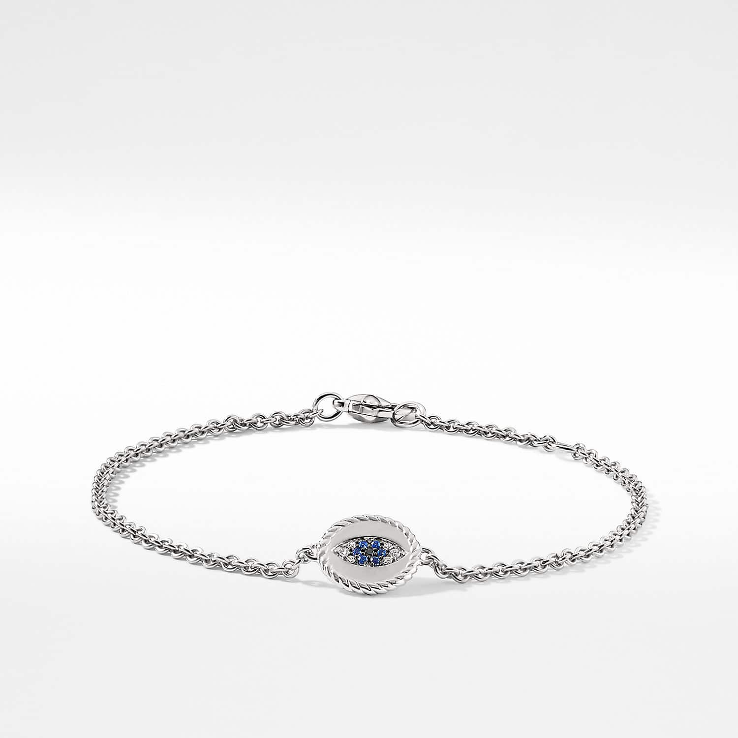 Cable Collectibles Evil Eye Bracelet With Diamonds And Light Blue Shires In 18k White Gold