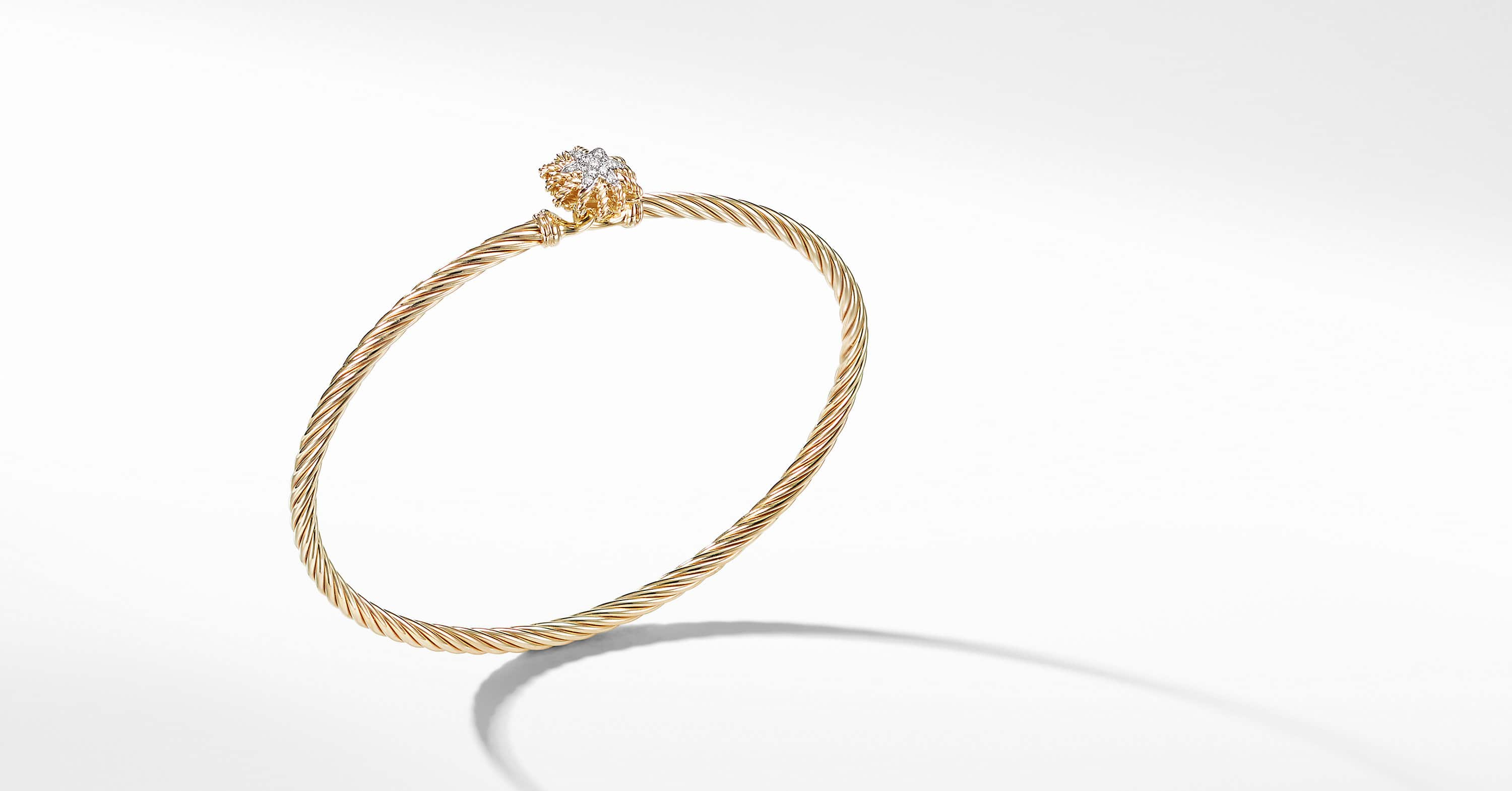 Starburst Single-Station Bracelet with Diamonds in 18K Gold, 3mm