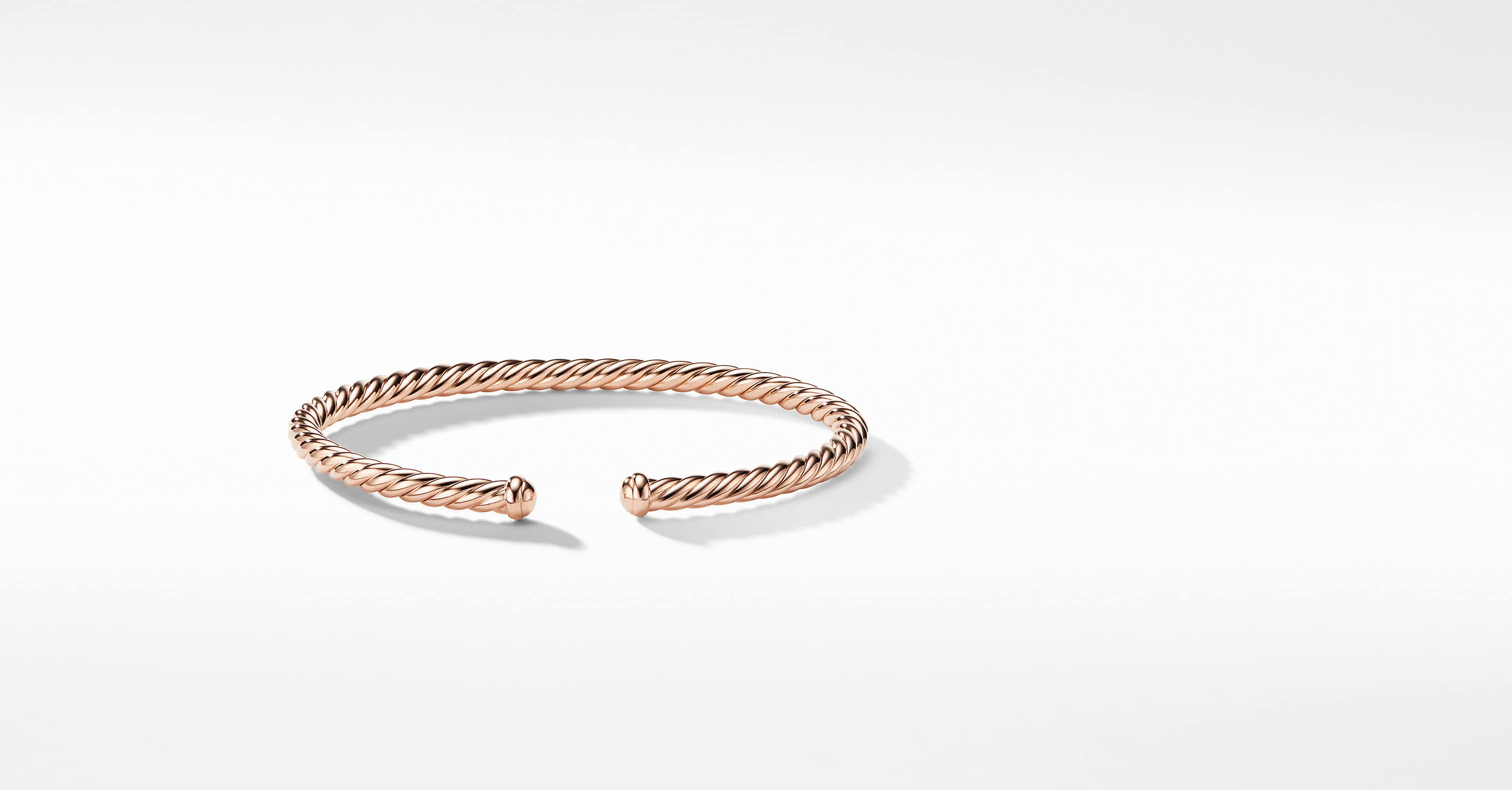 Cable Spira Bracelet in 18K Rose Gold, 4mm