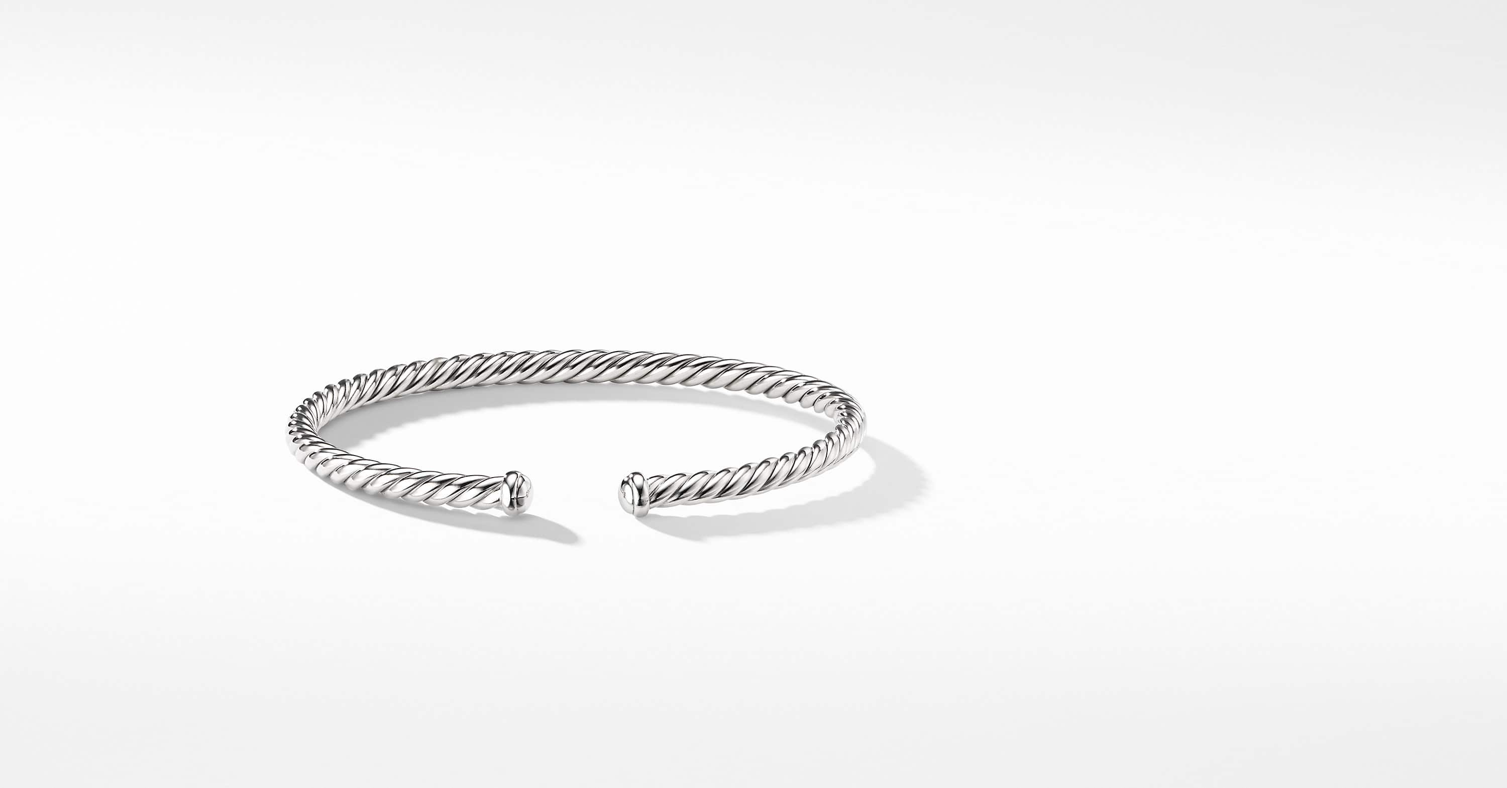 Cable Spira Bracelet in 18k White Gold, 4mm