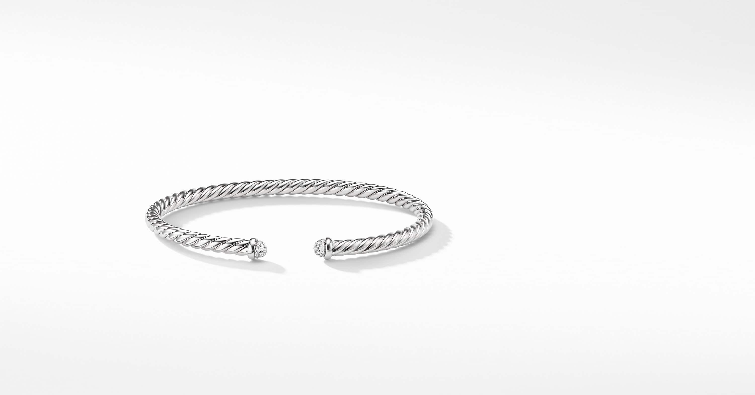 Cable Spira Bracelet with Diamonds in 18k White Gold, 4mm