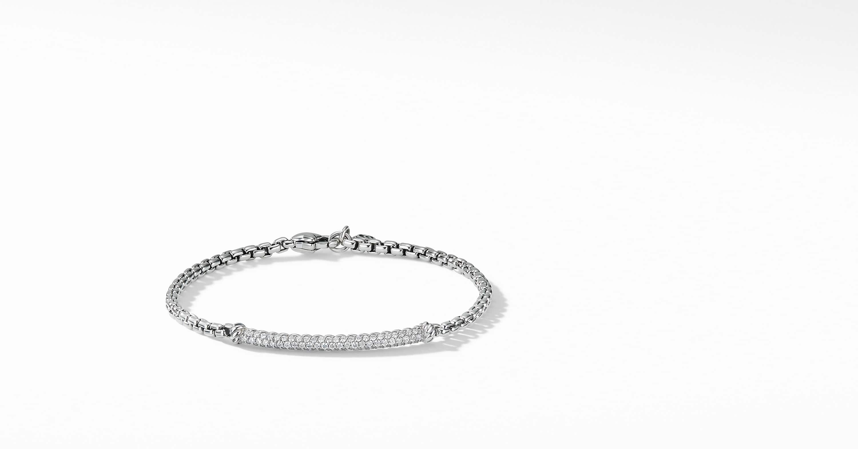 Petite Pavé Bar Bracelet with Diamonds, 3mm