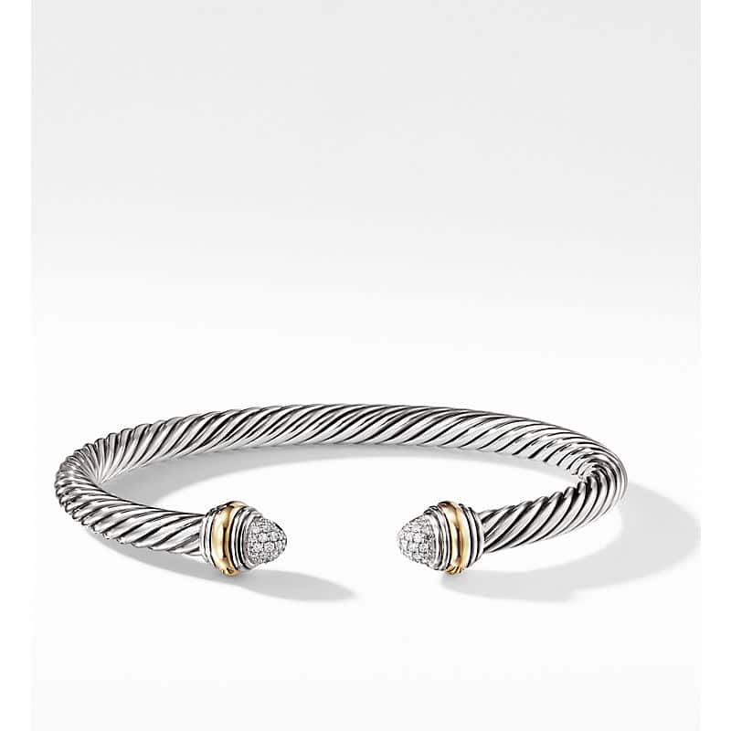 Cable Classic Collection Bracelet with Diamonds and 14K Yellow Gold, 5mm
