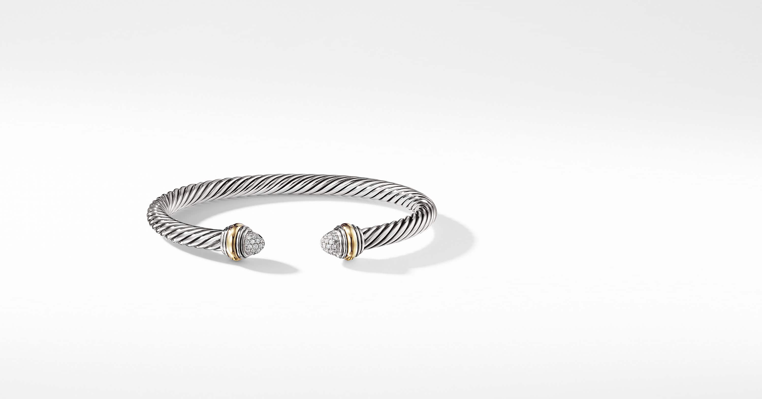 Cable Classics Bracelet with Diamonds and 14K Gold, 5mm