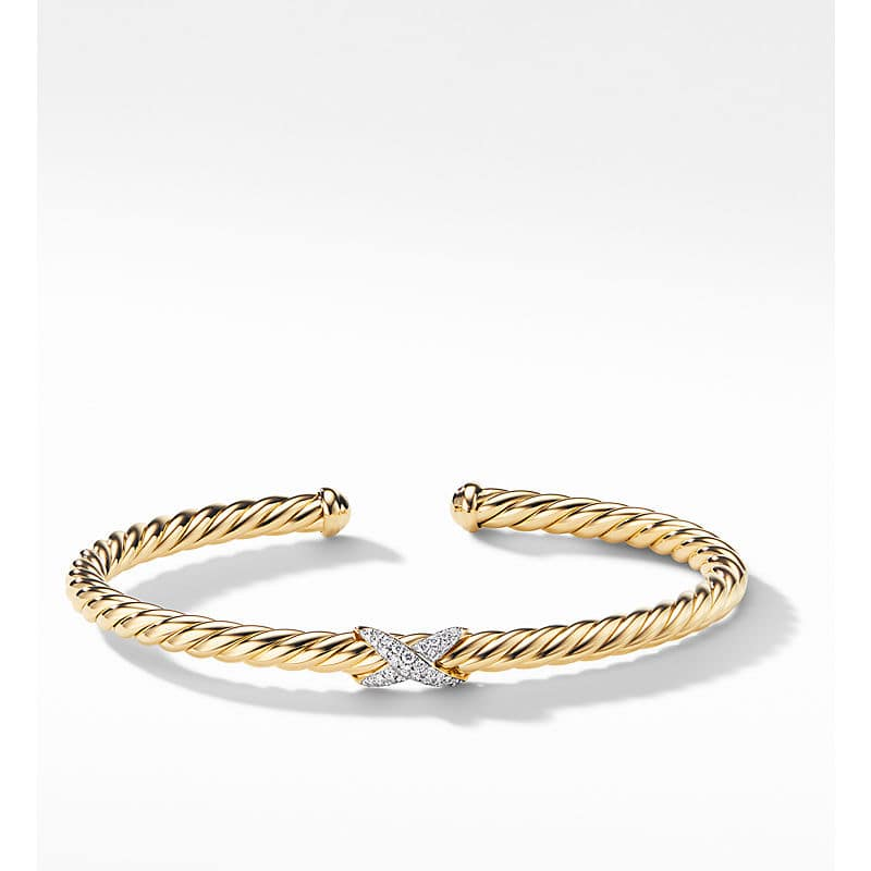 X Collection Bracelet with Diamonds in 18K Gold, 4mm
