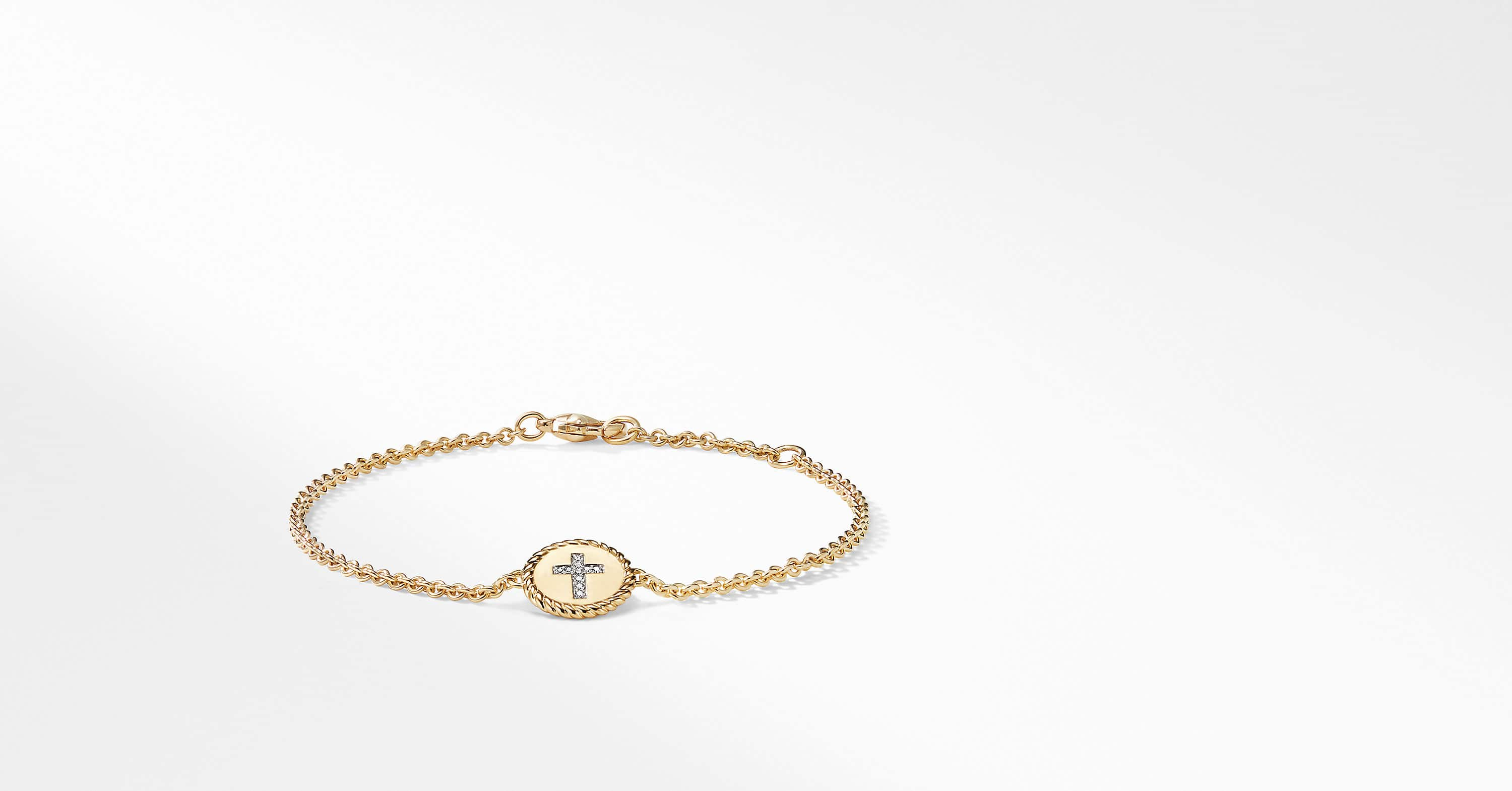 Cable Collectible Cross Bracelet with Diamonds in 18K Gold