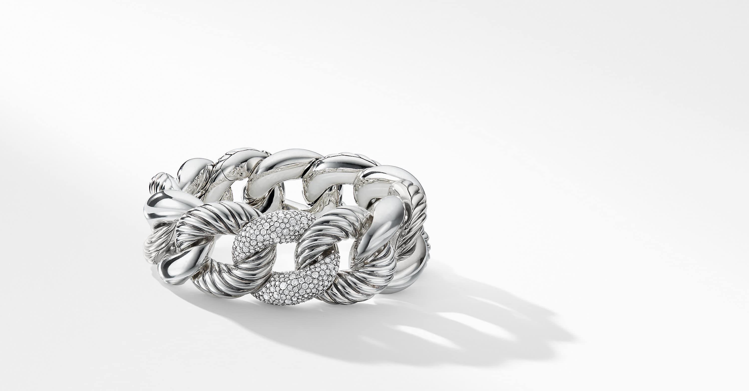 Belmont Curb Link Bracelet with Diamonds, 25mm